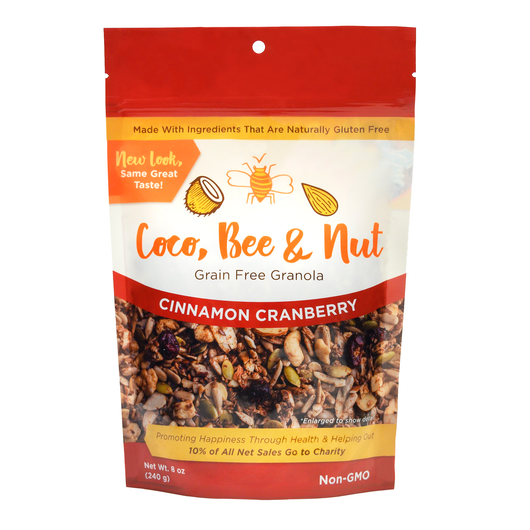 Cinnamon Cranberry granola; lots of cinnamon with a hint of allspice, and punches of tart cranberries highlight this blend of nuts and seeds. A picutre of the granola is on the front of the bag, showcasing the deep color of our grain free cinnamon., nutty goodness. 12-pack option.