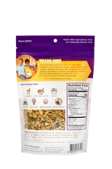 Maple Ginger grain free/gluten free granola bag of the bag. Highlights how you are giving back when you make a purchase, how to incorporate Coco, Bee & nut into other foods/meals, a clear window that give you a better idea of what the product looks like, nutritional information, ingredients, website and contact information, business address, allergens, and bar code for scanning, Non-GMO claim on the back as well.
