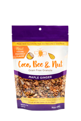 "Maple Ginger grain free/glutenfree granola is our vegan flavor. The purple color denotes this flavor; comes in an 8 oz resealable zipper bag. The front of the bag shows an enlarged photo of the loose granola detail of what you're purchasing: a rich blend of nuts and seeds, sweetened with maple syrup and flavored with a kick of ginger. Also shown on the bag is a statement reading: 10% of all sales go to charity, as well as a ""made with ingredients that are naturally gluten free"" statement. 6-pack option."