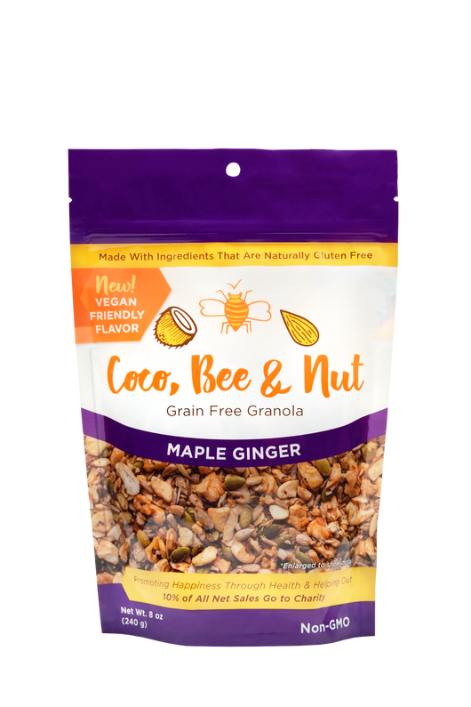 Maple Ginger grain free/glutenfree granola is our vegan flavor. The purple color denotes this flavor; comes in an 8 oz resealable zipper bag. The front of the bag shows an enlarged photo of the loose granola detail of what you're purchasing: a rich blend of nuts and seeds, sweetened with maple syrup and flavored with a kick of ginger. Also shown on the bag is a statement reading: 10% of all sales go to charity, as well as a