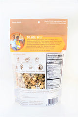 Plain grain free/gluten free granola bag of the bag. Highlights how you are giving back when you make a purchase, how to incorporate Coco, Bee & nut into other foods/meals, a clear window that give you a better idea of what the product looks like, nutritional information, ingredients, website and contact information, business address, allergens, and bar code for scanning, Non-GMO claim on the back as well.