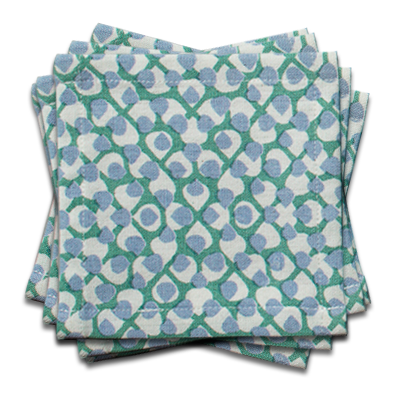 Hydrangea Cocktail Napkin | s/6 | Blue/Green