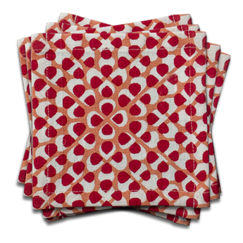 Hydrangea Cocktail Napkin | s/6 | Red/Coral
