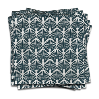 Scallop Cocktail Napkin | s/6 | Navy