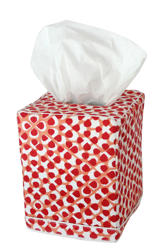 Hydrangea Tissue Box Cover | Red/Coral