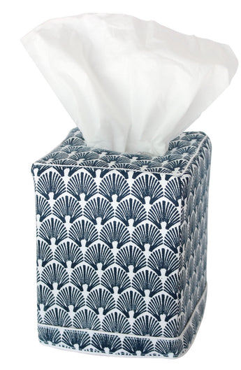 Scallop Tissue Box Cover | Navy