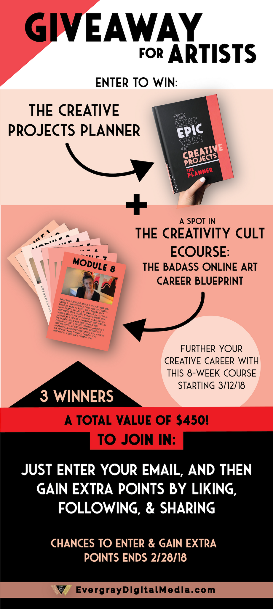 2018 Giveaway for Artists - Enter to win the Creative Projects Planner + a spot in the Creativity Cult eCourse: The Badass Online Art Career Blueprint