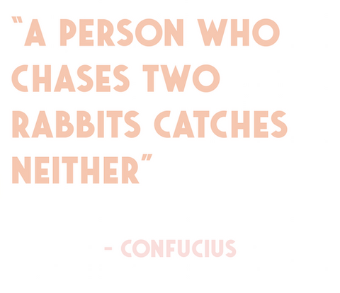 A person who chases two rabbits catches neither - Confucius
