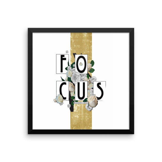 Framed photo paper poster - Focus typography