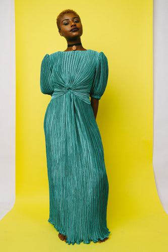 TEAL ACCORDION PUFFY SLEEVE DRESS