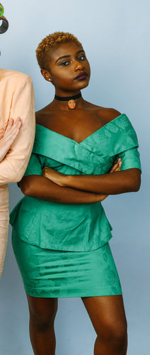 1980s GREEN OFF-SHOULDER DRESS SUIT