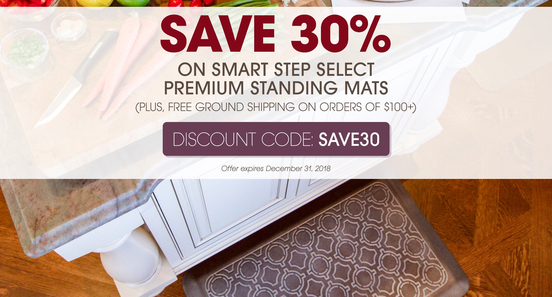 Save 30% on Smart Step Select Premium Standing Mats with code SAVE30