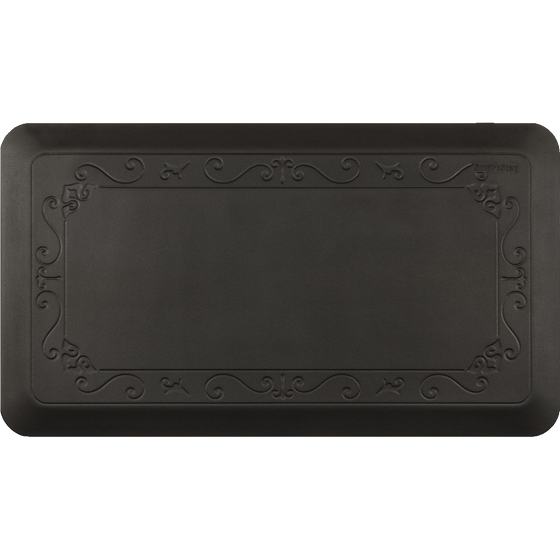 "Fleur De Lys Black 36"" x 20"" Anti-Fatigue Mat"