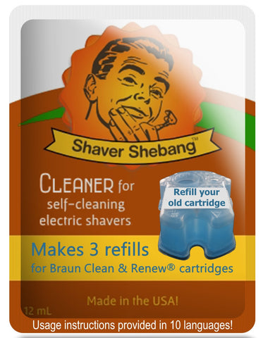 Braun Clean & Renew® cartridge refills - Shaver Shebang concentrated cleaner solution