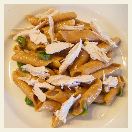 ISOPASTA PENNE WITH PEANUT SAUCE AND SMOKED TURKEY
