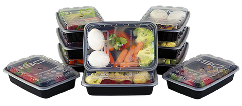 12oz Black Meal Prep Containers
