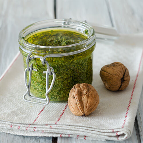 Toasted Walnut Spinach Pesto Sauce for IsoPasta