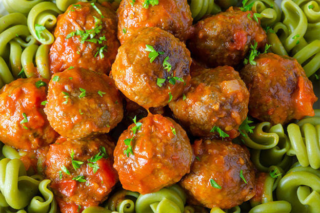 Our Favorite Beef Recipe: Lean Beef Spinach Meatball Pasta