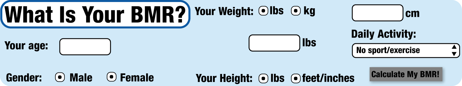 bmr calculator, what to eat, cardio training