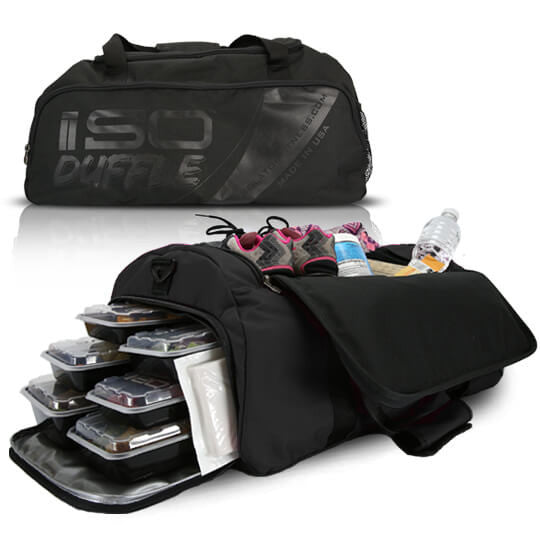 A HIGH QUALITY DURABLE 5 COMPARTMENT DUFFEL MEAL MANAGEMENT SYSTEM Duffle Bag Blackout
