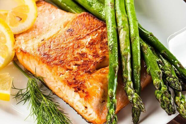 Our Favorite Seafood Recipe: Mustard Baked Salmon with Grilled Asparagus