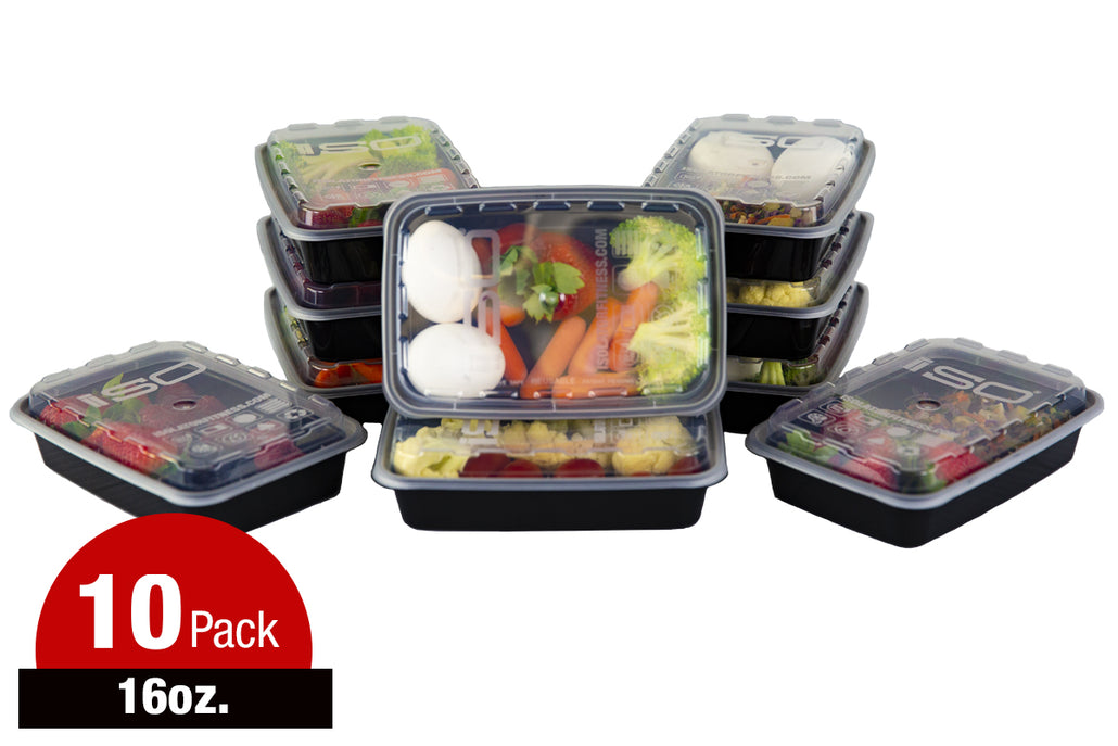 16oz Black Meal Prep Containers