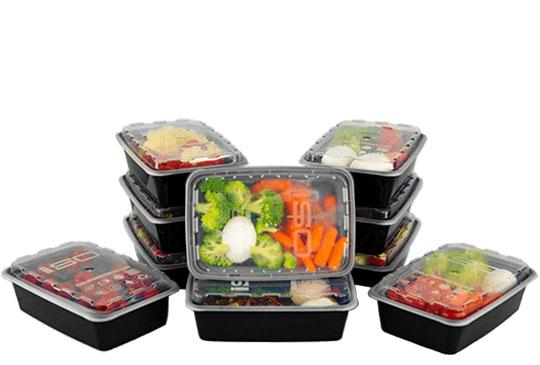 38oz Black Meal Prep Containers