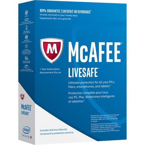 Cheap Antivirus Mcafee LiveSafe Complete Protection for 1 Year - InterSecure