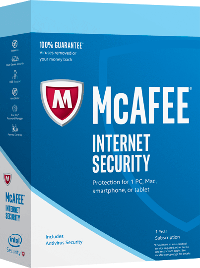 Cheap Antivirus McAfee Internet Security 2017 - 1, 3 or Unlimited devices - 1 Year - Windows + Android + Apple - InterSecure