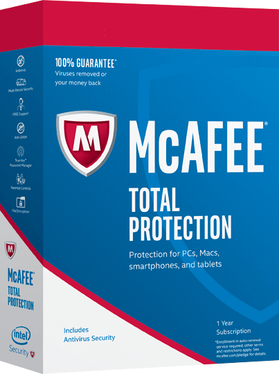 Cheap Antivirus McAfee Total Protection Software - 12 Month - Windows + Android + Apple - InterSecure