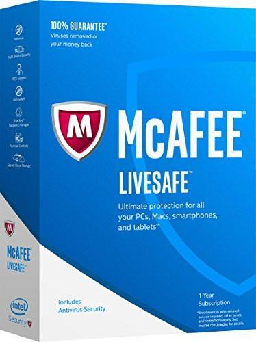 Cheap Antivirus Latest McAfee LiveSafe - 1 Year Subscription Windows + Android + Apple - InterSecure