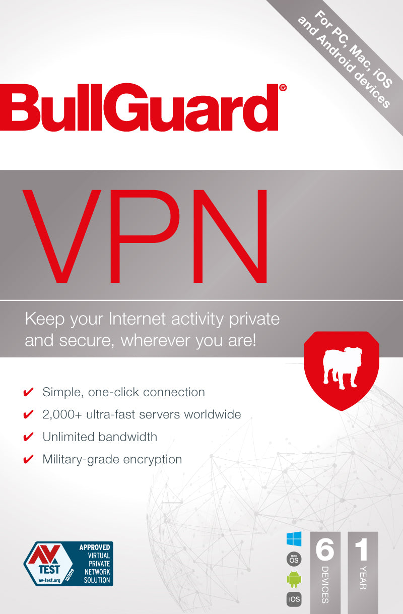 BullGuard VPN Complete Online Privacy and Security Military Grade Protection - 6 Devices - 1 Year - Latest Edition
