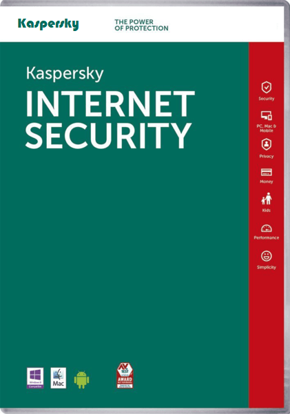 Kaspersky Internet Security Software For 1 Year - Windows, MAC & Android