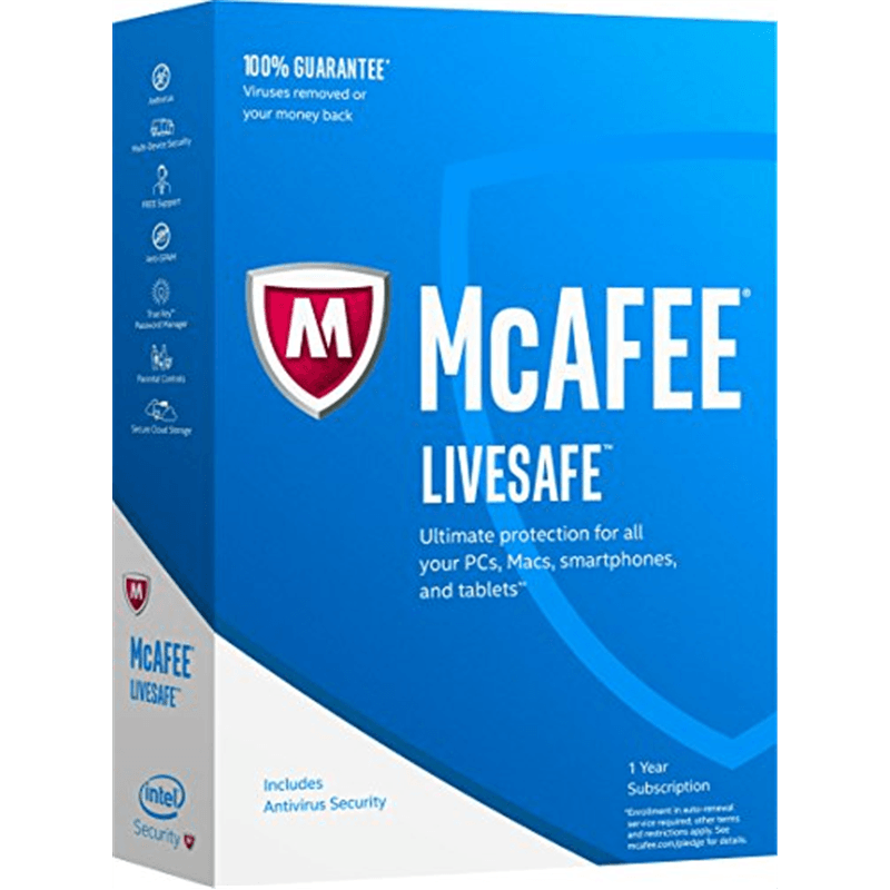 Cheap Antivirus McAfee Livesafe 2017 Renewal and New Customers - 1 or Unlimited Devices - 12 Month - InterSecure