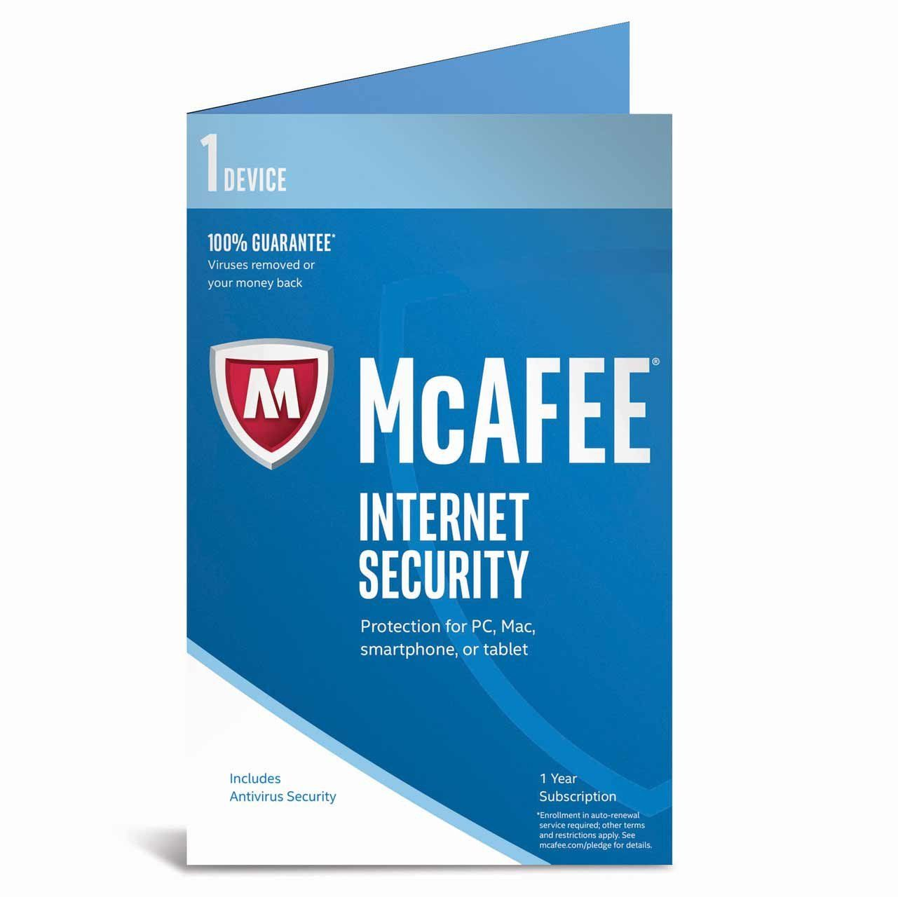 Cheap Antivirus McAfee Internet Security - For One Year (PC/Mac/Android) - InterSecure