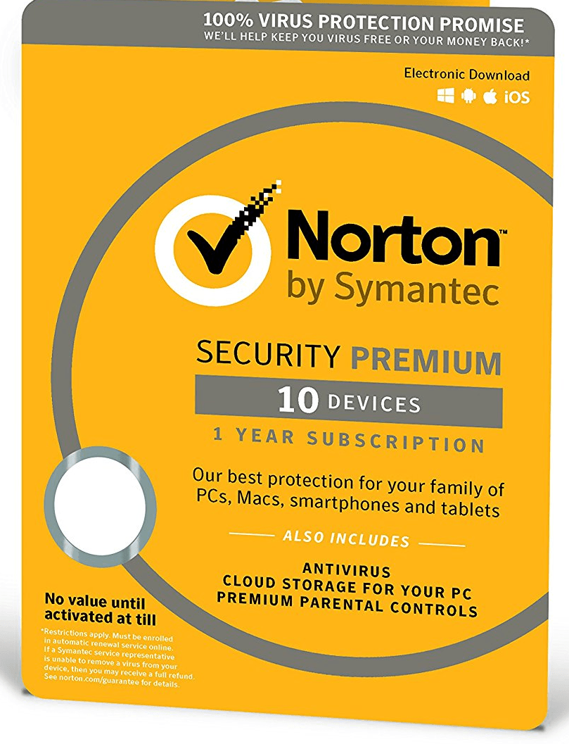 Cheap Antivirus Norton Security Premium - 10 Devices - 12 Months License - InterSecure