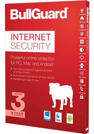 Cheap Antivirus Latest BullGuard Internet Security -  All Windows, Android & MAC Devices - LATEST EDITION - InterSecure