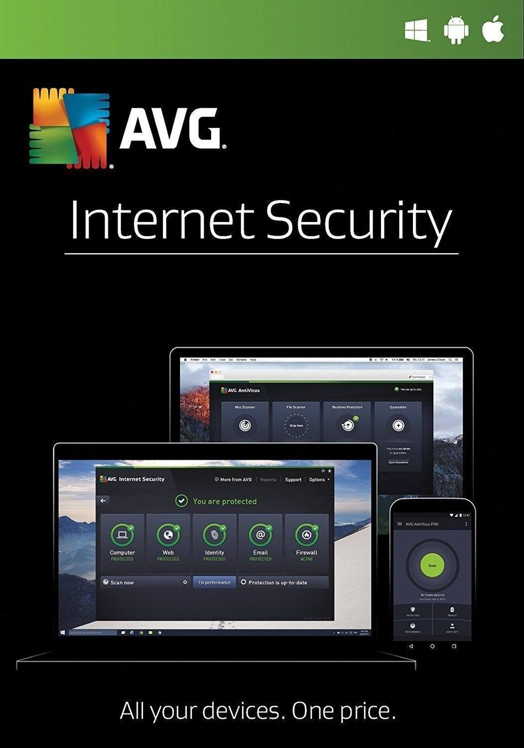 Cheap Antivirus AVG Internet Security 2019 - Windows + Android + Apple - InterSecure