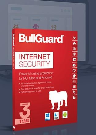 Cheap Antivirus BullGuard Internet Security Protection Windows + MAC + Android - Latest Edition - InterSecure