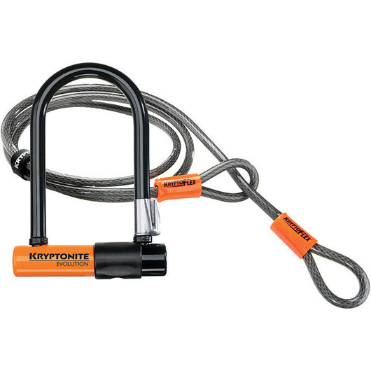 Kryptonite Evolution Mini-7 W/ 4' Flex Cable Available At The Bike Doctor