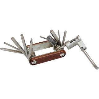 Folding 11 in 1 tool with Chain remover and wood handle