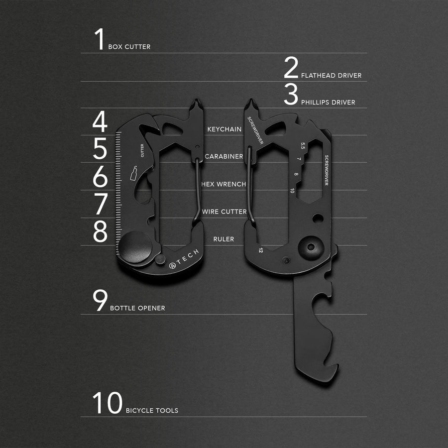 ATECH Multitool 10-in-1 Carabiner Box Cutter Screw Driver Ruler Bottle Opener Hex Wrench Keychain Flathead Bicycle Tools