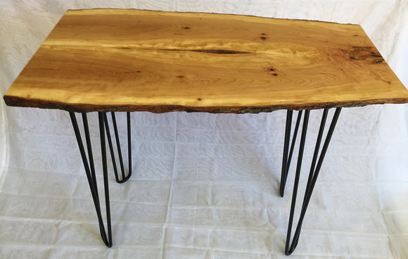 Wild Cherry Live Edge (Bark Preserved) Hall/Sofa Table with Hairpin Legs
