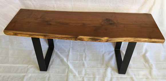 Walnut Bench with Matte Black Finished Strap Steel Base