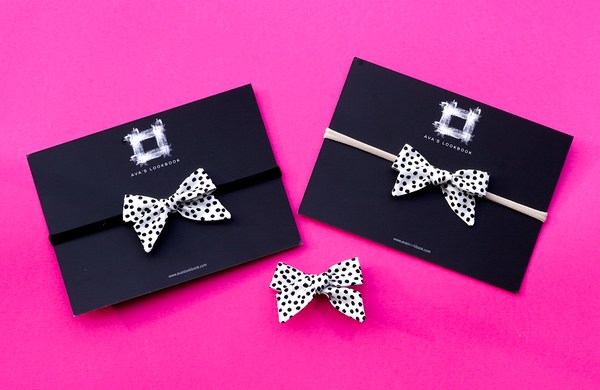 Black and White Confetti Bow