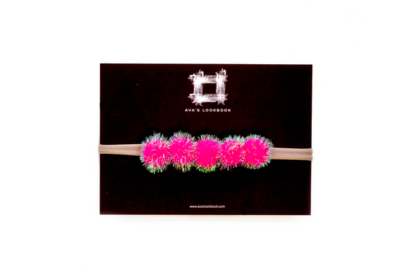 Fuchsia Mini Pom Pom Headband