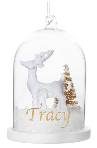Glass Dome Ornament w/ Deer and Christmas Tree