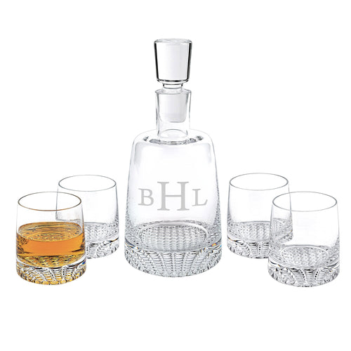 Monogramed European Mouth Blown 5 Piece Whiskey, Bourbon or Scotch Set