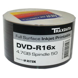 DVD-R 16X TRAXDATA White Inkjet Printable - 50pcs Blank Discs TV Film Photo Media