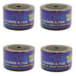 200 DVDs AONE DVD-R 16X Write Blank Discs FF White Inkjet Printable (Quad 4 Pack of 50 Spindle/Cake Box)